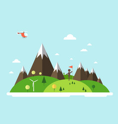 Man with flag on island helicopter on sky flat vector