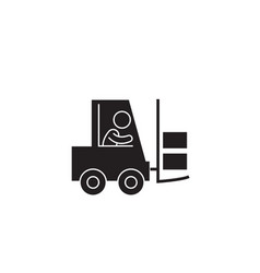 mighty forklift black concept icon mighty vector image