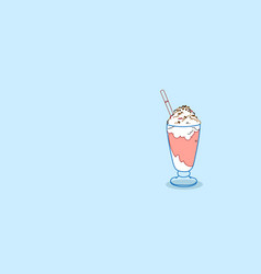 milkshake glass with whipped cream sweet dessert vector image