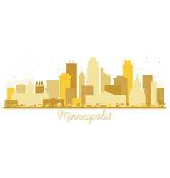 minneapolis minnesota usa skyline golden vector image