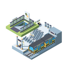 modern city subway entrance detailed isometric vector image