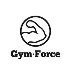 modern round minimalistic gym logo Fitness vector image