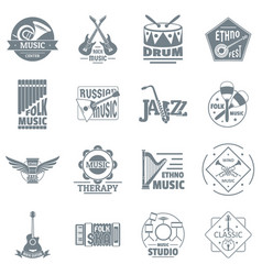 musical instruments logo icons set simple style vector image