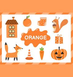 Orange educational worksheet for kids learning vector