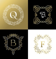 Ornament gold outline frame leaf flower decoration vector