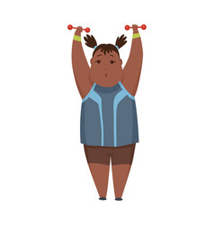 overweight american little girl fitness fat girl vector image