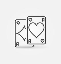 Pair aces minimal concept line icon vector
