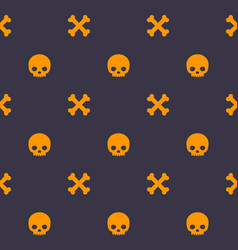 pattern with skull and bones halloween background vector image