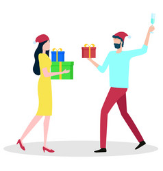 people going with presents winter holiday vector image