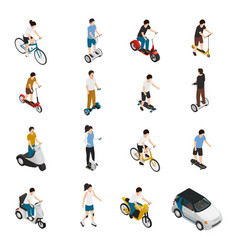 people riding personal eco vehicles vector image