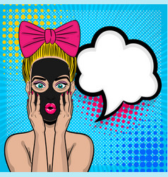 Pop art girl cosmetic black mask wow face vector