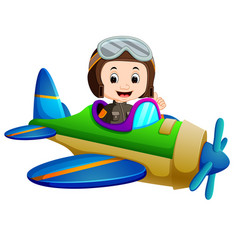 Professional pilot riding flying plane vector