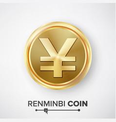 renminbi yuan gold coin realistic money vector image