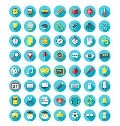 School and education icons set in flat design vector image