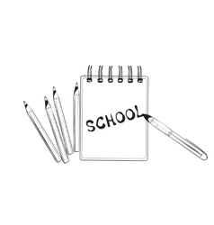School doodles icons Hand drawn notebook vector image
