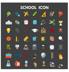school icon flat set with blackboard laptop vector image