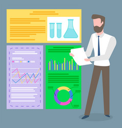 Scientist and chemical documents infographics vector