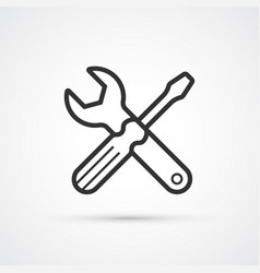 screwdriver and spanner flat line icon eps 10 vector image