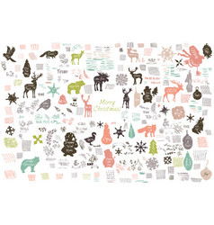 set grunge retro stickers doodles textures vector image