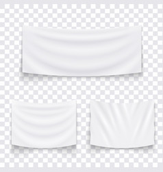 set hanging empty white textile banners vector image