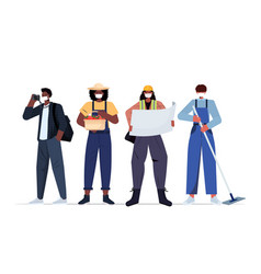 set mix race people different occupations vector image