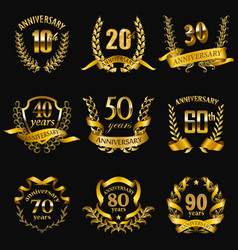 Set of gold anniversary badges vector