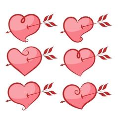 Set of hearts vector