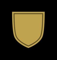 shield shape gold icon simple flat logo on black vector image