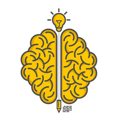 silhouette of the brain on a white background vector image