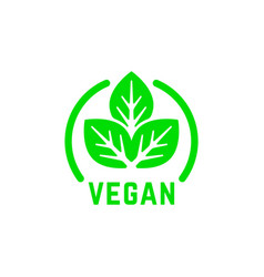 simple round vegan product green logo vector image