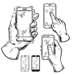 Smartphones And Male Hands Graphic Set vector image