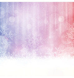 Snowflake background with blurry lights vector image