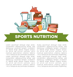 Sports nutrition and fitness gym dietary vector