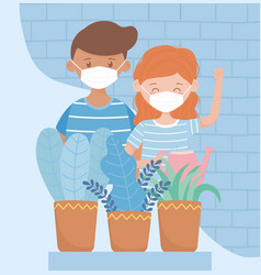 Stay at home young couple with medical mask and vector