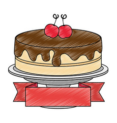 Sweet and delicious cake with cherries and ribbon vector