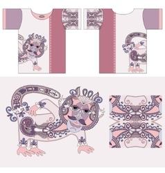 T-shirt design with unique decorative fantasy vector