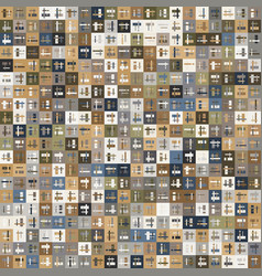Tan micro pattern squares with layered geo vector