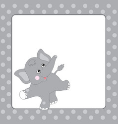 Template card with cute elephant vector