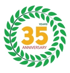 Template Logo 35 Anniversary in Laurel Wreath vector image
