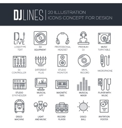 Thin lines icons of Dj staff and any equipment set vector