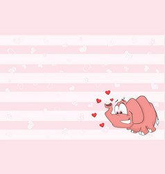 valentines card with cute elephant vector image