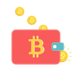 Wallet with golden coins vector