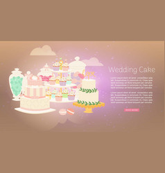 Wedding cakes with white icing decorated with vector