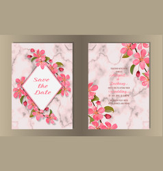 wedding invitation template set with pink cherry vector image
