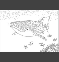 Whale shark over a reef vector