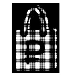 White halftone rouble shopping icon vector