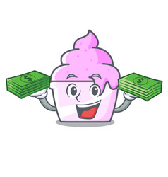 with money bag ice cream paper cup mascot cartoon vector image
