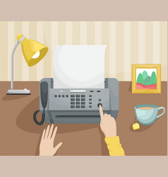 Workplace with a fax and a girl pressing a button vector
