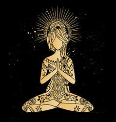 Yoga meditation pose ornamental vector