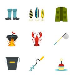 fishing elements icons set flat style vector image